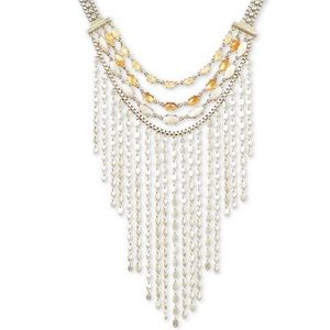 Lucky brand gold-tone citrine bead fringe necklace